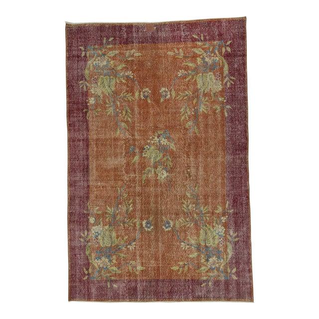 Turkish Art Deco Floral Rug- 6′7″ × 10′1″ For Sale