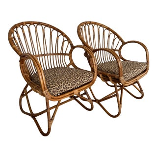 Vintage Franco Albini Rattan Chairs-Pair For Sale