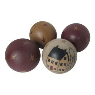 Painted Wood Balls With Stars & House- 4 Pieces For Sale
