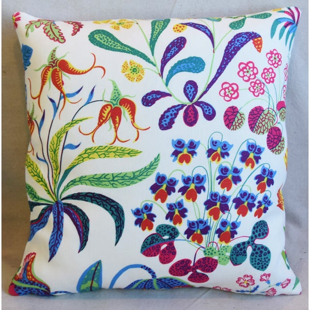 "Mid-Century Modern Designer Josef Frank Floral ""Under Ekatorn"" Linen Feather/Down Pillows 18"" Square - Pair For Sale - Image 3 of 11"
