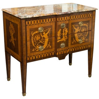 19th Century Italian Marquetry Inlaid Commode With Marble Top For Sale