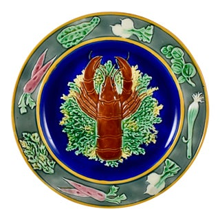19th C. Wedgwood Majolica Cobalt Blue Oyster Plate For Sale