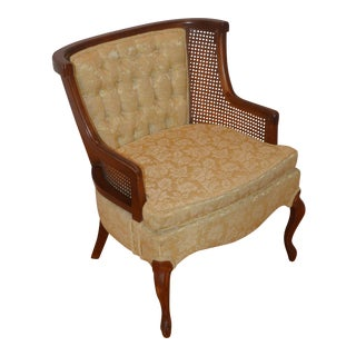 Vintage Caned Damask Bergere Chair
