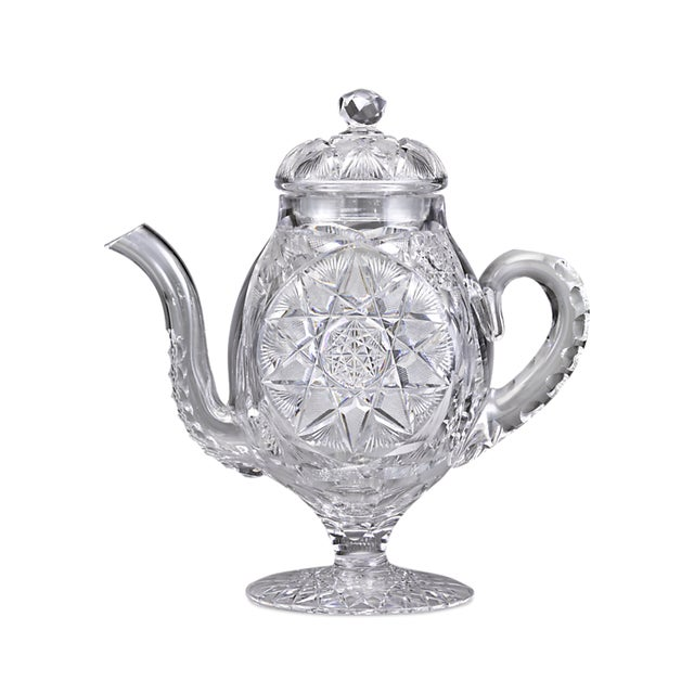 American Brilliant Cut Glass Coffee Pot by Meridan For Sale - Image 4 of 4