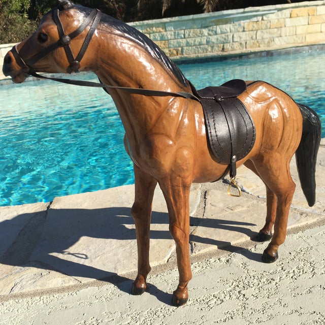 Vintage Equestrian Leather Saddled Horse - Image 9 of 10