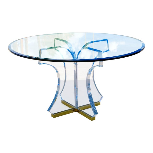 Lucite and Glass Dining Table With Brass Base For Sale