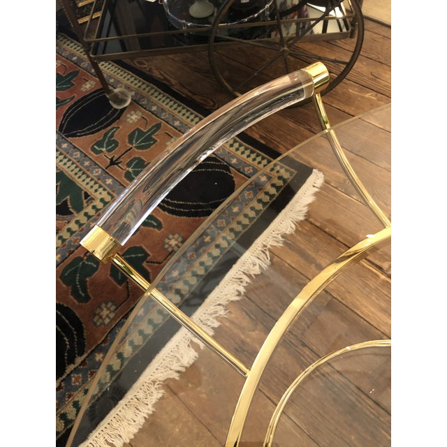French Lucite and Gold Plated Round Bar Cart For Sale - Image 10 of 12