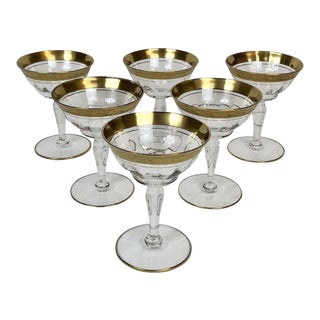 Early 20th Century Antique Art Deco Gold Rimmed Stem Glasses - Set of 6 For Sale