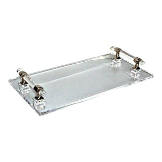 Chrome & Lucite Handled Tray For Sale