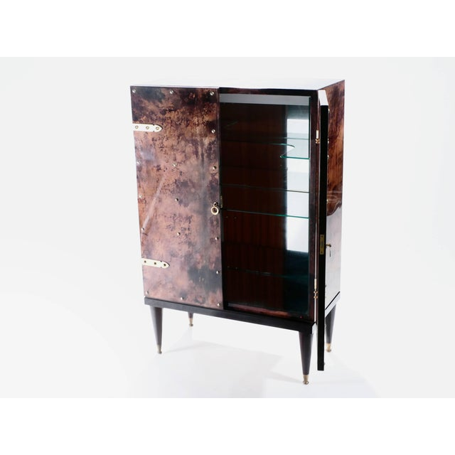 Brown Bar Cabinet in Goatskin Parchment by Aldo Tura, 1960s For Sale - Image 8 of 12