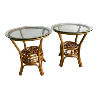 Vintage Rattan Round Glass Side Table - a Pair For Sale
