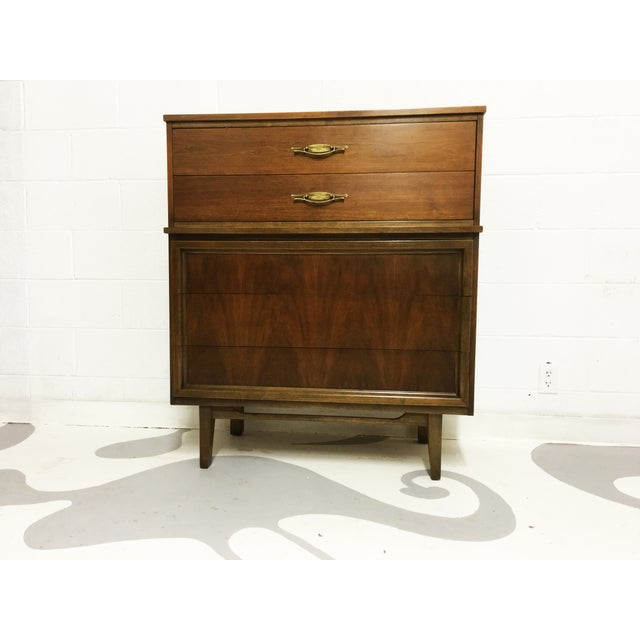 Mid-Century Modern Dresser Tallboy in Walnut - Image 4 of 6
