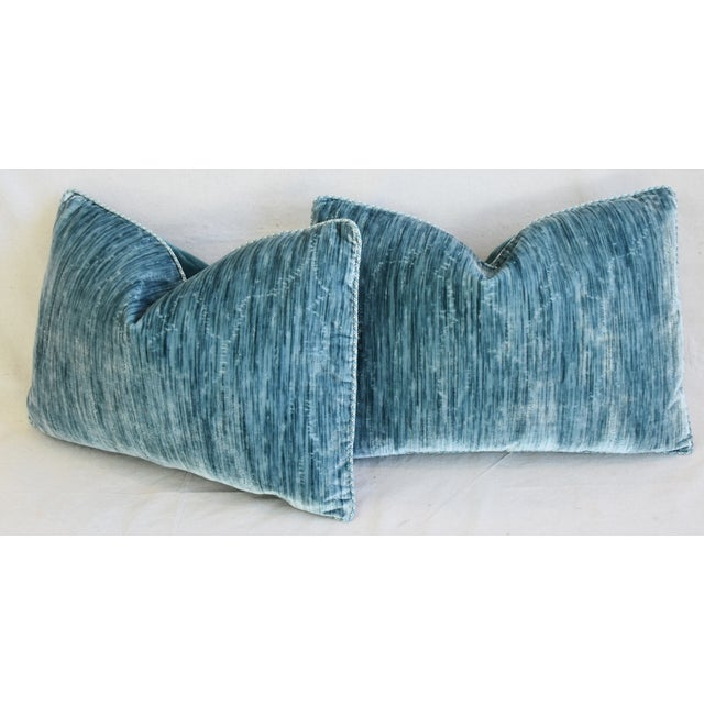 """Scalamandre & Clarence House Velvet Fabric Feather/Down Pillows 24"""" X 16"""" - Pair For Sale - Image 9 of 13"""