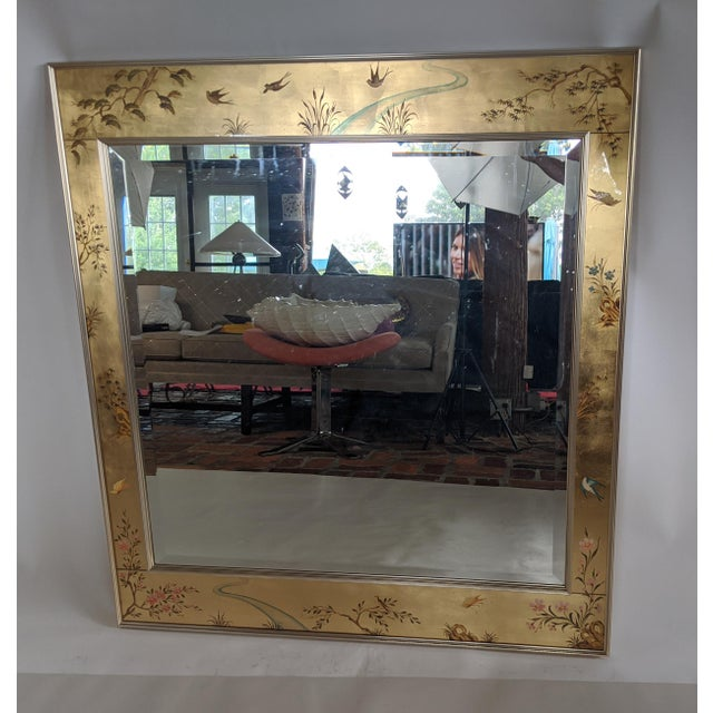 La Barge Chinoiserie Reverse Hand Painted Eglomise Mirror For Sale - Image 12 of 12