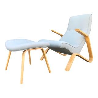 Modernica Gentle Grey Grasshopper Lounge Chair & Ottoman