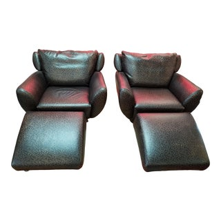 1980s Vintage Custom Chairs and Ottomans - 4 Pieces For Sale