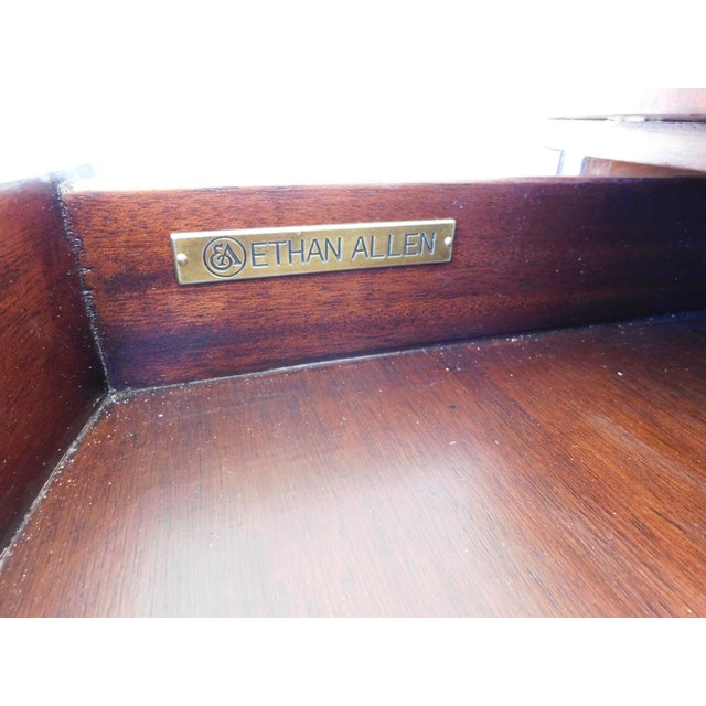 Features Quality Solid Construction, 4 Drawers, Tooled Leather Top, Up on Brass Casters, Approx 5 years old Very Good...