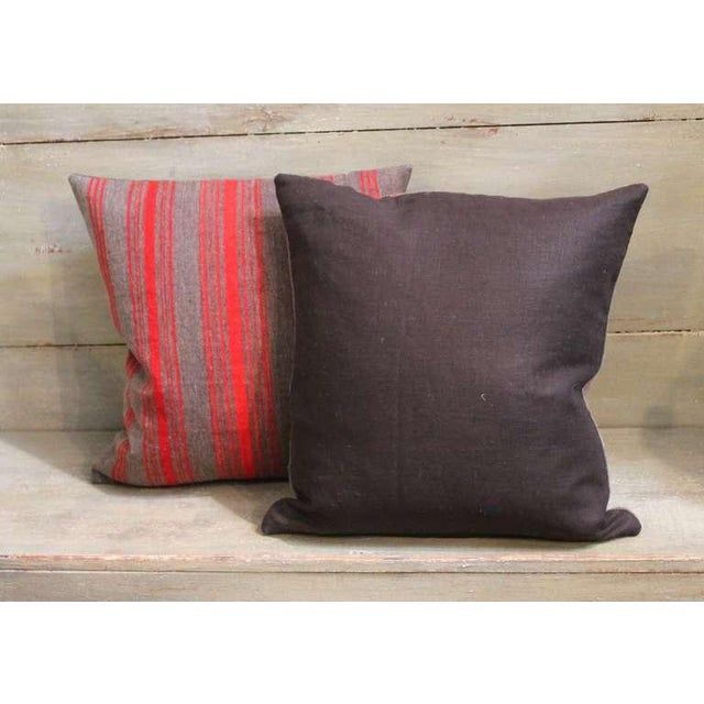 Mid 19th Century Pair of Late 19th Century Brown and Red Striped Pillows For Sale - Image 5 of 5
