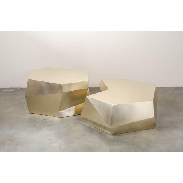 Contemporary Puzzle Facet Cocktail Table - Brass For Sale - Image 3 of 8