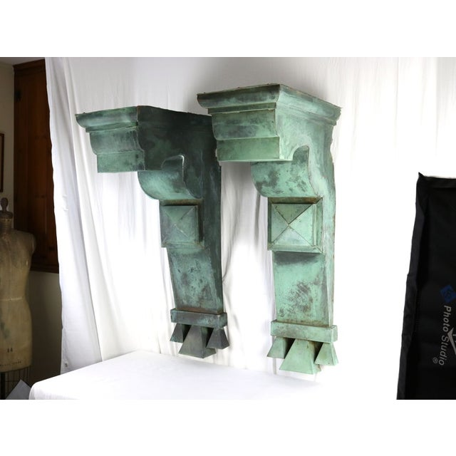 Offered is one pair of LARGE copper corbels dismantled from an important 1905 hospital complex in New Jersey. A number of...