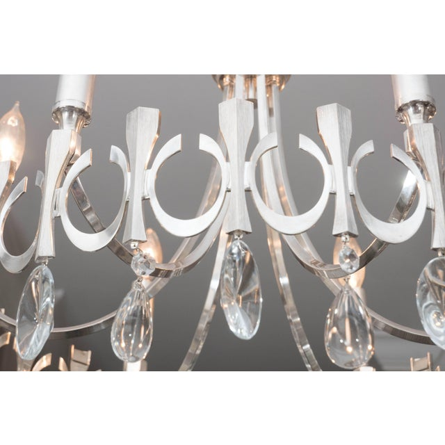 Mid 20th Century Silverplate Six-Light Chandelier Attributed to Sciolari For Sale - Image 5 of 9