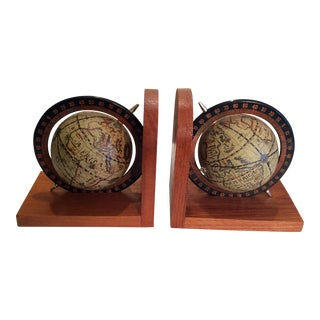 Vintage Mid Century Globe Wood Bookends - a Pair For Sale