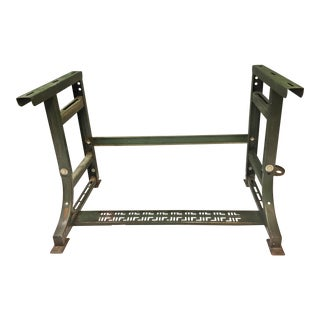Vintage Industrial Green Steel Sewing Table Base For Sale