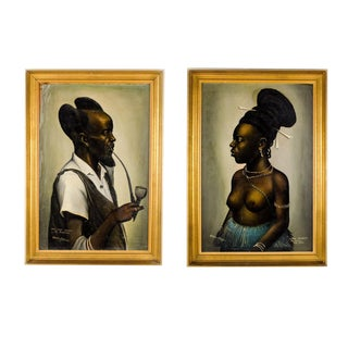 """Femme Bangbeto"" and ""Sous Chef Mututsa"" Oil Paintings by Chama Edouard - a Pair For Sale"