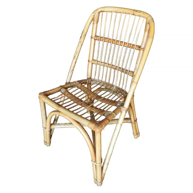 Paul Frankl Restored Mid-Century Rattan Dining Side Chair W/ Stick Rattan Seat, Set of Six For Sale - Image 4 of 7