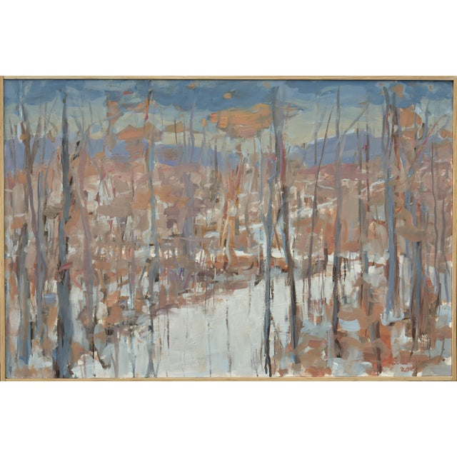 """""""Vermont Memory"""" Contemporary Abstract Landscape Acrylic Painting by Stephen Remick, Framed For Sale"""