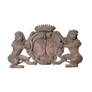 Early 18th Century Antique Dutch Lions Coat of Arms Wood Carving For Sale