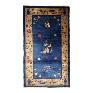 1920s Handmade Antique Art Deco Chinese Rug 6.4' X 4'