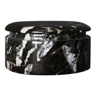 Italian Black Marble Lidded Jar Circa 1980 For Sale