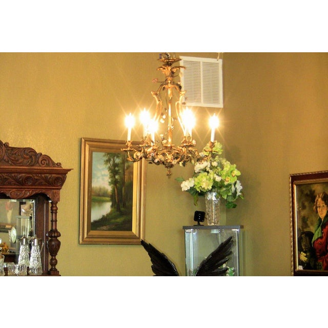 Late 19th Century 19c French Gilt Bronze Chandelier With Porcelain Flowers For Sale - Image 5 of 13