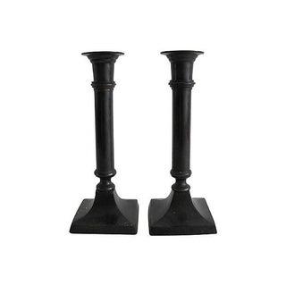 Granite Finish Metal Candlesticks - A Pair