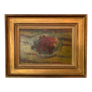 """1960s French Still Life of Cherries in a Basket Titled """"Les Cerises"""" For Sale"""