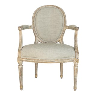 Early 20th Century French Patinated Upholstered Armchair For Sale