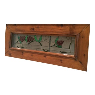 Antique Lead Stained Glass & Wood Window Box