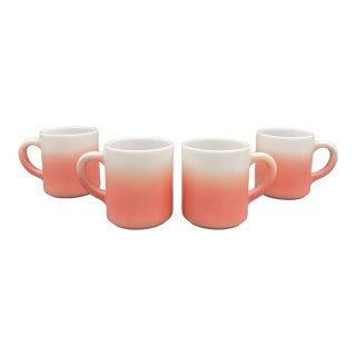 Early 20th Century Hazel Atlas Pink and White Ombre Milk Glass Mugs- Set of 4 For Sale