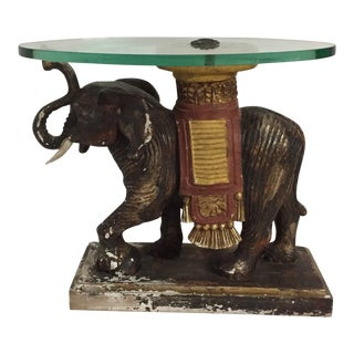 1960s Jansen Painted Wood Elephant with Glass Top Cocktail Table For Sale