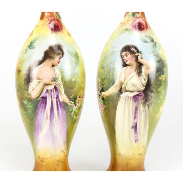 Art Nouveau Franz Anton Mehlem Royal Bonn Porcelain Hand Painted Portait Vases - A Pair For Sale - Image 3 of 8