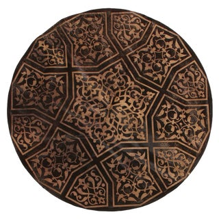 """Cowhide Brown and Beige Circle Rug-4'8'x4'8"""" For Sale"""
