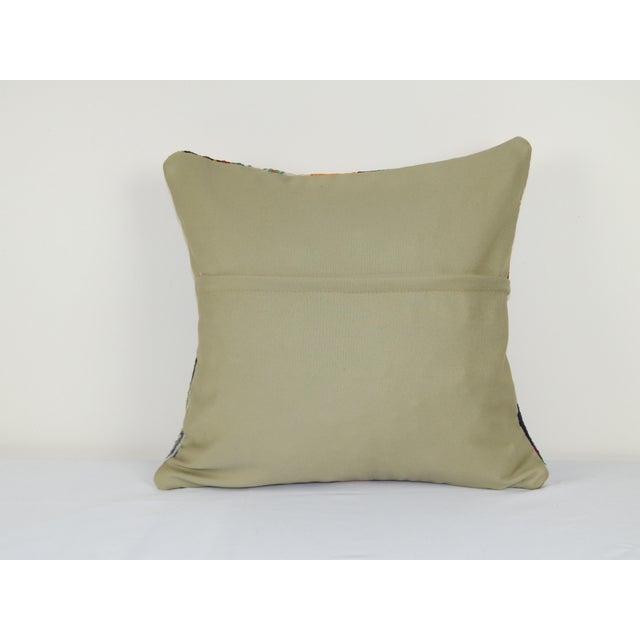 "1960s Vintage Turkish Patchwork Kilim Pillow 20"" X 20"" For Sale - Image 5 of 6"