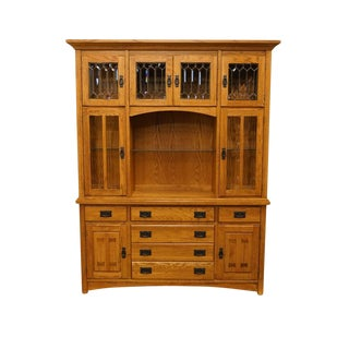20th Century Mission Richardson Brothers Solid Oak Illuminated Display China Cabinet For Sale