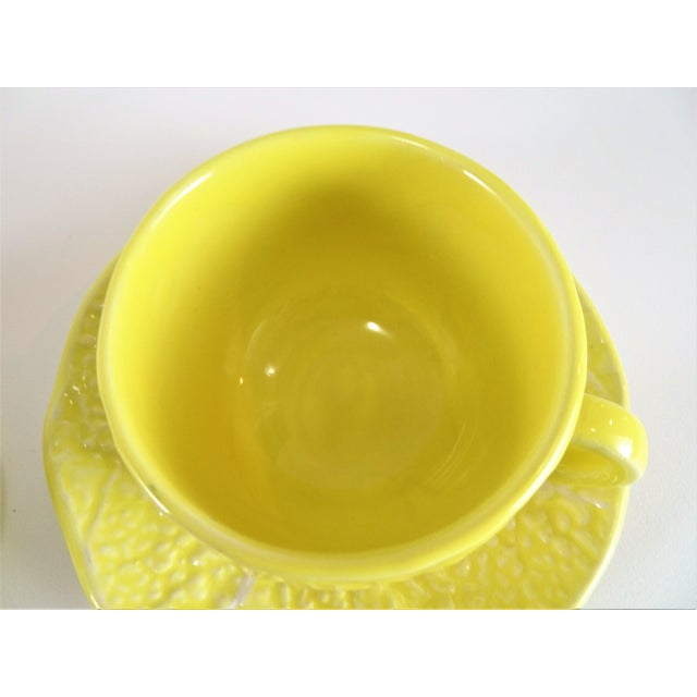 Yellow Vintage Yellow Cabbage Majolica Tea Cup and Saucer - Service for 3 For Sale - Image 8 of 10