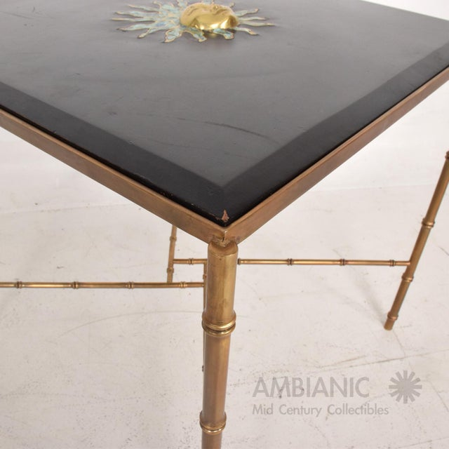 Mexican Modernist Centre Table in Brass, Wood & Malachite, Pepe Mendoza Square For Sale In San Diego - Image 6 of 11