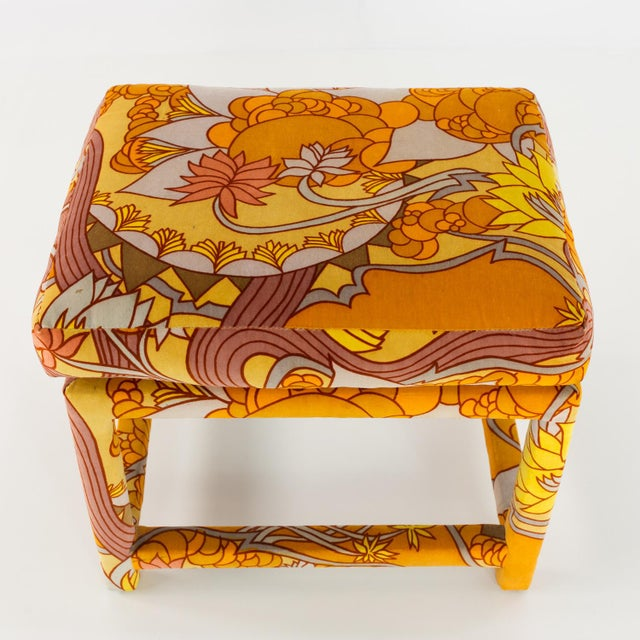 1960s Milo Baughman for Thayer Coggin Mid Century Parsons Ottoman Stool With Jack Lenore Larsen Fabric For Sale - Image 5 of 7