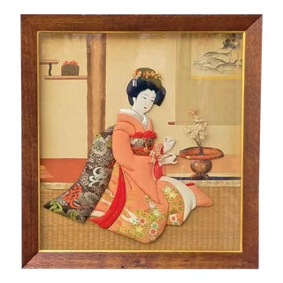 Vintage Japanese Shadow Box Diorama Art Girl in Kimono 3d Fabric Art For Sale