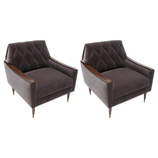 Adesso Imports Custom 1960s Style Velvet Armchairs - a Pair For Sale
