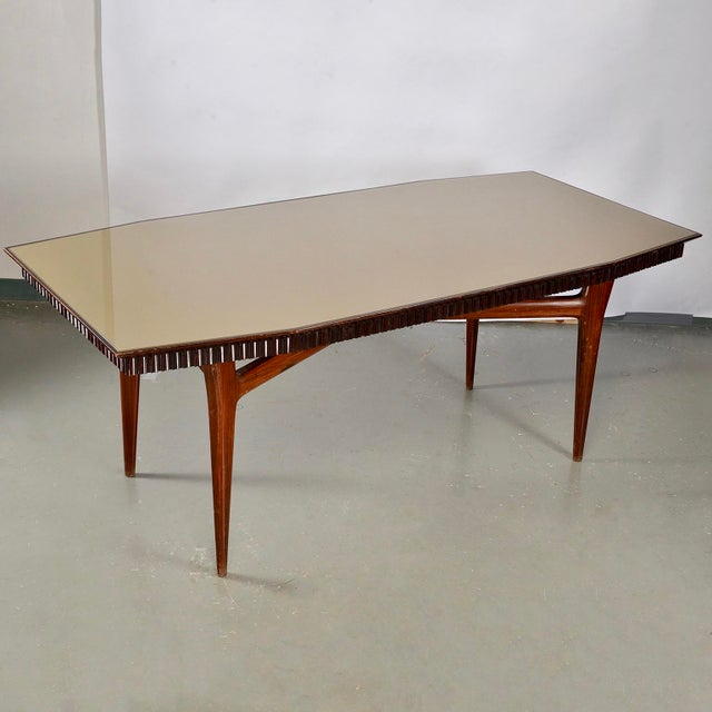 Green Mid-Century Italian Dining Table With Green Glass Top and Fluted Edge For Sale - Image 8 of 11